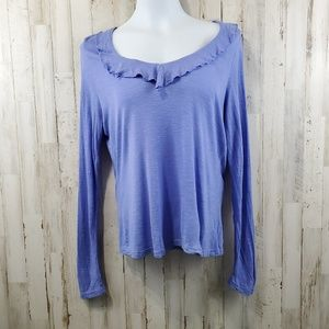 Fresh Produce Womens Top M Purple Long Sleeve